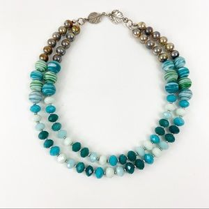 Blue And Green Beaded Necklace Leaf Clasp